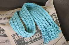 Aqua scarf with fun curly fringe, 5X5 rib knit, beautiful and soft hand, great gift