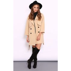 Dolly Rocka Lottie Camel Trench Coat ($120) ❤ liked on Polyvore featuring outerwear, coats, neutral, camel trench coat, belted trench coat, trench coat, camel coat and belted camel coat