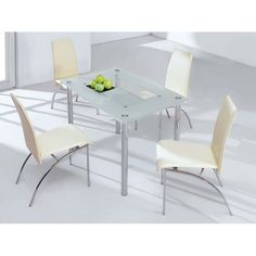 Rimini Large Frosted Dining Table with 4 D211 Dining Chairs
