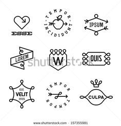 vintage  labels with heart, arrow, apple