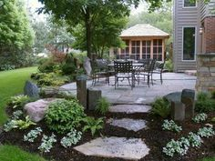 Amazing DIY Slate Patio Design and Ideas – Onechitecture - front yard landscaping ideas with rocks Outdoor Landscaping, Front Yard Landscaping, Backyard Patio, Outdoor Gardens, Landscaping Ideas, Hillside Landscaping, Backyard Ideas, Walkway Ideas, Landscaping Plants