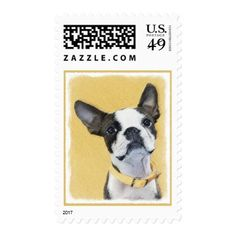 Boston Terrier Postage - drawing sketch design graphic draw personalize