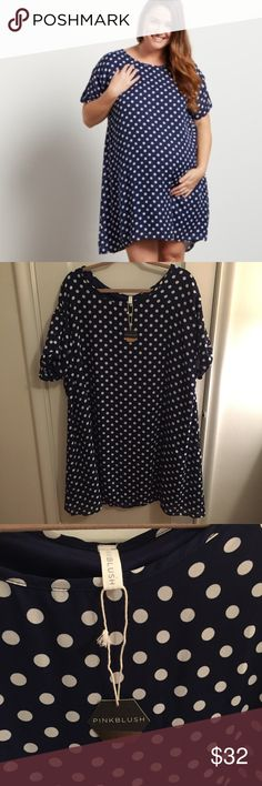 Navy polka dot maternity dress or top Never worn. See detail on sleeves. Could absolutely work for plus-size non-maternity! Pinkblush Dresses