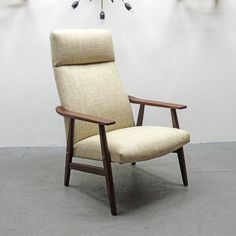 pair of danish high back lounge chairs