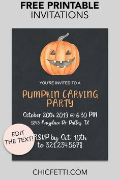 Free Printable Jack-o'-Lantern Invitation - make your own invitations with this free invitation template. This invitation is a great party idea for any Halloween or Pumpkin Carving party! Fall Party Invitations, Halloween Birthday Party Invitations, Pumpkin Birthday Parties, Hallowen Party, Halloween Parties, Halloween 2019, Halloween Treats, Birthday Cakes, Pumpkin Painting Party
