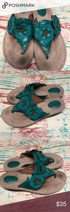 Clark's Artisan Teal Green Flower Sandals size 9M Ladies Teal Green Flower Leather Sandals Size 9M Minimally worn, maybe once.  Ready to enjoy this upcoming spring and summer season.  Check out my closet for other Born and Clark shoes to bundle Clarks Shoes Sandals