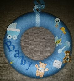 Announcement of the birth of a baby boy, or door decoration for a baby shower