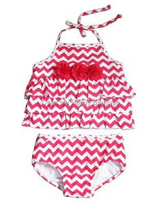 Peaches n Cream Red Chevron Ruffle Tankini Swimsuit Girls sz.2T-6x #Summer