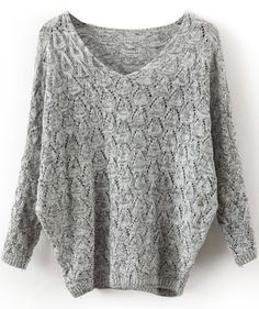 durchlöcherter Langarm-Pullover mit V-Ausschnitt, grau