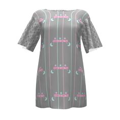 Papercut Patterns Flutter Tunic made with Spoonflower designs on Sprout Patterns. By Floramoondesigns and Maryyx