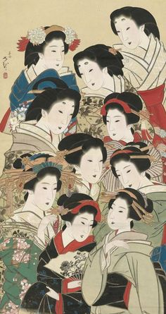 Japanese art: Ten women, representing different classes. Main detail of a hanging scroll; ink and color on silk, Japan, by artist Mihata Joryu. Japanese Artwork, Japanese Painting, Japanese Prints, Chinese Painting, Style Japonais, Art Japonais, Japanese Geisha, Vintage Japanese, Japanese Kimono