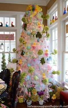Tree Decorated for Easter!!! Bebe'!!! Darling Easter Tree!!! Decorated with Eggs, Bunnies, Ducks and Baskets!!!