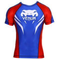 Venum Electron 20 Short Sleeve Rashguard BlueRed XXLarge * Detailed information can be found by clicking on the VISIT button