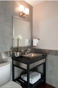 "Before & After - traditional - powder room - san francisco - Timeline Design (""stripe"" extending from shower tile around to be backsplash behind small vanity? Powder Room Vanity, Modern Powder Rooms, Diy Bathroom Decor, Bathroom Ideas, White Bathroom, Bathroom Inspiration, Modern Bathroom, Bathroom Lighting, Bathroom Chrome"