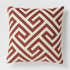 Crewel Key Pillow Cover - Cayenne #westelm... with the new couch? Becca, what are your thoughts?