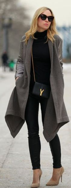 Grey Leather Contrast  ~ 60 Great Fall - Winter Outfits On The Street - Style Estate -