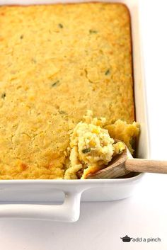 Corn Casserole Recipe from addapinch.com