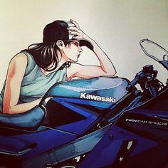 #ライダー#バイク乗り#女性ライダー #バイク女子 #カワサキ#ZZR1100 「本当に、本当に300出るのか⁉」 1990年、最高出力147psで登場❗ ・・・ZZRが本当に300キロ出るのかいまだにオレは知りません。(((^_^;) ごめんなさい❗乗ったことがないのです。(。>д<) この画はオレのお気に入り❗\(>_<)/ バイクが似合う女、男の願望だね❗(⌒‐⌒)
