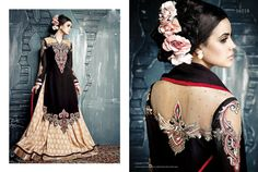 Latest Fashion Black Colour Georgette & Net Designer Dress Material