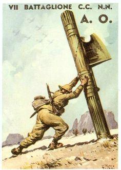 Guerra in Etiopia Italian Empire, Italian Army, Nazi Propaganda, North African Campaign, Ww2 Posters, Italian Posters, Political Art, Old Art, Military Art