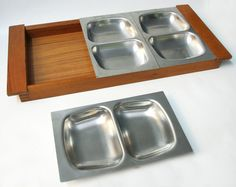 Old Hall Robert Welch teak 22  serving tray & 3x stainless steel dishes, wooden. £30 on my ebay 141783822792