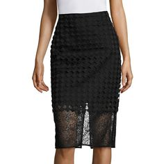 Diane von Furstenberg Twig Lace Pencil Skirt ($119) ❤ liked on Polyvore featuring skirts, apparel & accessories, geometric print pencil skirt, pencil skirt, knee length pencil skirt, knee length lace skirt and geometric pencil skirt