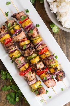 Easy Teriyaki Pork Kabobs made with extra lean and tender Hormel's premarinated pork tenderloin.