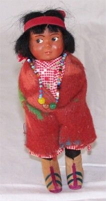 "Skookum Native American Indian Girl 6"" Doll-1930s~40s-Bead Necklace-Bully Good"