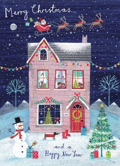 Leading Illustration & Publishing Agency based in London, New York & Marbella. Christmas Scenes, Noel Christmas, Pink Christmas, Winter Christmas, Vintage Christmas, Christmas Crafts, Christmas Decorations, Christmas Ornaments, Images Wallpaper