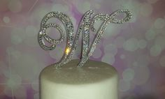 """6"""" Tall Initial Monogram Cake Topper Crystal Swarovski Crystal Rhinestone  A B C D E F G H I J K L M N O P Q R S T U V W X Y Z on Etsy, $55.00"""