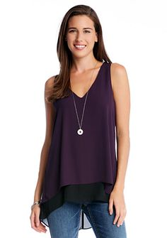 Karen Kane Contrast Double Layer Tank