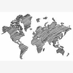 Wereldkaart poster, schilderij op canvas of op hout.