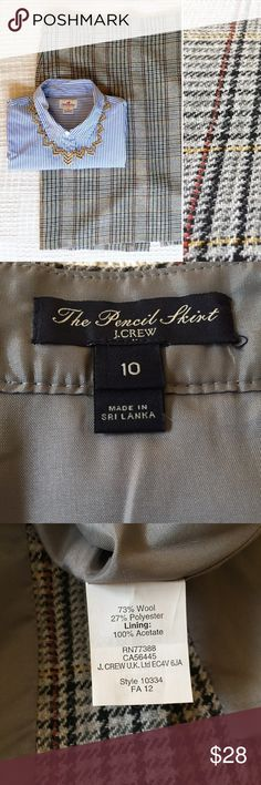 """J. Crew Plaid Grey Wool Factory """"The Pencil Skirt"""" This is a very gently used plaid pencil skirt from  J. Crew Factory. It's a classic grey that will look awesome with tights and boots for fall! J. Crew Factory Skirts Pencil"""