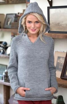 Hooded Pullover Free Knitting Pattern from Red Heart Yarns