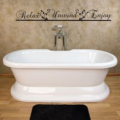 Items similar to Relax Unwind Enjoy Bathroom Vinyl Wall Art Decal on Etsy Master Bathroom Tub, Relaxing Bathroom, Bathroom Wall Art, Bathroom Furniture, Bathroom Ideas, Bathroom Tubs, Bathroom Marble, Bath Ideas, Pedestal Tub