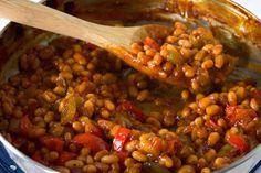Vegetarian Baked Beans, Bbq Baked Beans, Veggie Dishes, Side Dishes, Vegan Barbecue, Fava Beans, Dash Diet, Veg Recipes, Vegan Baking