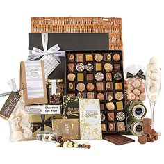 The Indulgence Chocolate Hamper Making A Choice Can Be So Difficult, What Should I Send White Or Dark? Milk Or Truffles? Why Torture Yourself When The Indulgence Chocolate Hamper Covers Has All Three! A Simply Fantastic Hamper For Any Chocolate Lover. Hampers Uk, Hampers Online, Food Hampers, Gift Hampers, Holiday Gifts, Christmas Gifts, Holiday Decor, Chocolate Hampers, Personalised Cupcakes