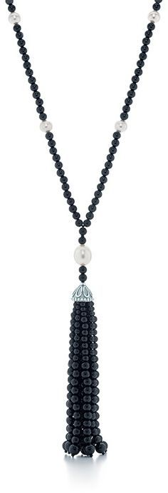 Tiffany & Co. Black Onyx Tassel necklace from the Ziegfeld collection, set in sterling silver.  Via the Jewellery Editor.