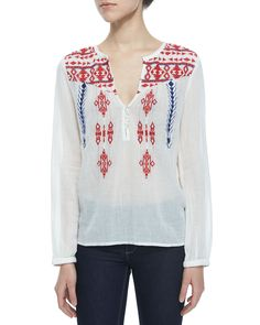 Embroidered Voile Long-Sleeve Top