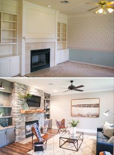 Fixer Upper: A Contemporary Update for a Family Sized House - Chip 2.0 - Living Room Before/After
