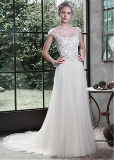 Elegant Tulle Scoop Neckline A-line Wedding Dress With Embroidery & Rhinestones