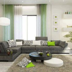 living room decorating ideas- like the colours however not keen on the curtain green