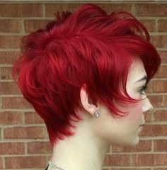 Stacked Short Hairstyle for Red Hair Color