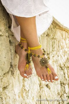 Gypsy barefoot #sandals Boho footless sandles Yoga bare foot jewelry Beaded bottomless #sandals Beach wedding soleless #sandal Bohemian anklet by ElvishThings