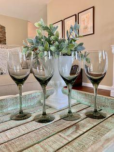 Set of Four Crystal Smoked Wine Glasses Elegant Bowl TYCAALAK