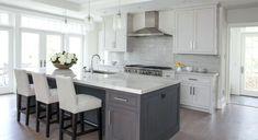 White kitchen - grey island grey kitchens, grey kitchen island, home kitche Grey Kitchen Island, Gray And White Kitchen, Gray Island, New Kitchen, Kitchen Decor, Kitchen Ideas, Kitchen Wood, Stairs Kitchen, Ranch Kitchen