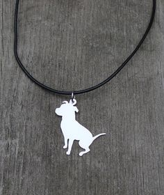 Pit Bull Necklace Hand Cut Pendant by RoxysCreations on Etsy