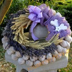 Venec Burlap Wreath, Hanukkah, Wreaths, Handmade, Lavender, Door Wreaths, Craft, Deco Mesh Wreaths, Floral Wreath