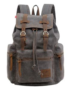 Berchirly Vintage Men Casual Canvas Leather Backpack
