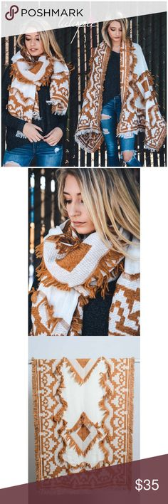 "🆕 Bohemian Frayed Edge Diamond Blanket Scarf Bohemian Frayed Edge Diamond Blanket Scarf. Measures 77"" X 28"". Made of 100% Acrylic. Available in camel and black. This listing is for CAMEL.   ✔️ Bundle Discounts  ✔️ Reasonable Offers through offer button  ❌ Low Balling  ❌ Trades Bchic Accessories Scarves & Wraps"